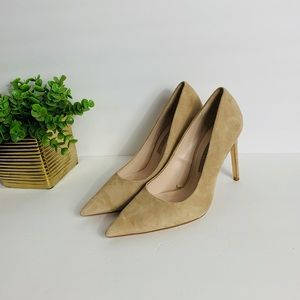 Zara Pointed Toes Nude Suede High Heels